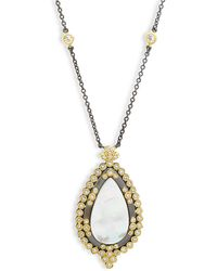 Freida Rothman - Framed Teardrop Mother-of-pearl, Crystal And Sterling Silver Pendant Necklace - Lyst