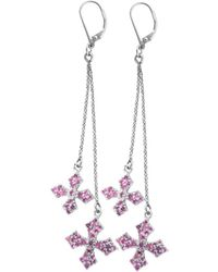 "King Baby Studio - ""cross"" Silver Cz Drop Earrings - Lyst"