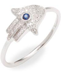 CR By Casa Reale - 14k White-gold Sapphire & Diamond Hamsa Ring - Lyst