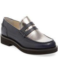 Jil Sander Navy - Leather & Metallic Leather Penny Loafer - Lyst