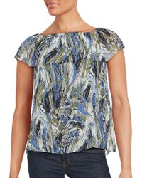 Kensie - Printed Short Sleeve Top - Lyst