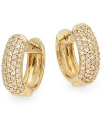 Effy - Diamond & 14k Yellow Gold Huggie Hoop Earrings - Lyst