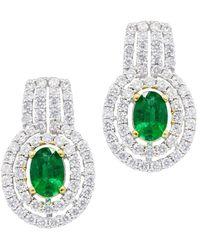 Diana M. Jewels - . Fine Jewellery 18k 2.14 Ct. Tw. Diamond & Emerald Earrings - Lyst