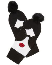 Alice + Olivia | Stace Face Fur Pom-pom Convertible Mittens | Lyst