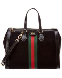 71bc653288a5 Gucci - Ophidia Web Suede & Leather Top Handle Tote - Lyst