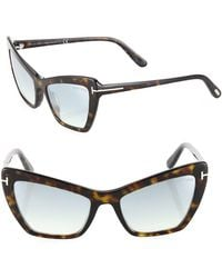 Tom Ford - Valesca 55mm Mirrored Cat Eye Sunglasses - Lyst