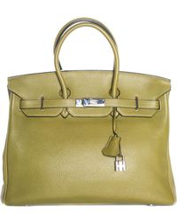 Hermès - Green Leather Birkin 35cm Phw - Lyst