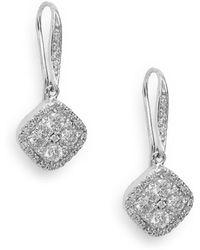Effy - Diamond & 14k White Gold Drop Earrings - Lyst