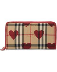 Burberry - Horseferry Check Heart Zip Around Wallet - Lyst