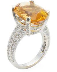 Vendoro - 18k White Gold, Citrine & 0.90 Total Ct. Diamond Cocktail Ring - Lyst