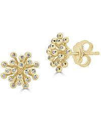 Saks Fifth Avenue - Ideal-cut Fireworks Diamond And 14k Yellow Gold Stud Earrings - Lyst