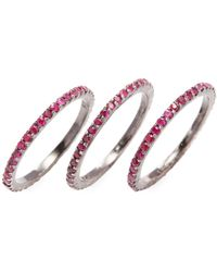Jyoti New York - Silver & Ruby Stackable Ring Set - Lyst