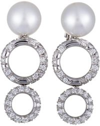 Mikimoto - 18k White Gold 1.90 Ct. Tw. Diamond & 10-11mm Pearl Drop Earrings - Lyst