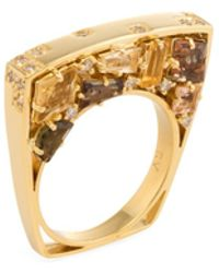 Estate Fine Jewelry - Estate 18k Yellow Gold, 0.18 Total Ct. Diamond & Mixed Cut Citrine Bridge Ring - Lyst