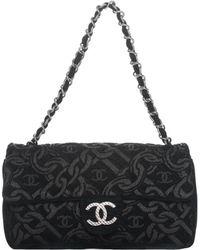 Chanel - Black Tapestry Medium Flap Bag - Lyst