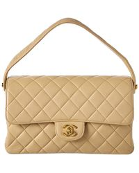 c2b33ac2a0f4 Chanel - Beige Quilted Lambskin Leather Medium Double Sided Single Flap Bag  - Lyst