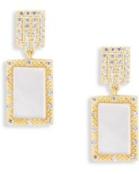 Freida Rothman - Classic Textured Mother-of-pearl, Cubic Zirconia And Sterling Silver Drop Earrings - Lyst