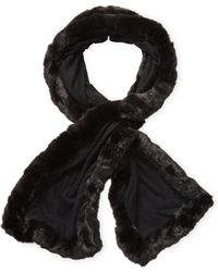 "Badgley Mischka - Faux Chinchilla Trim Long Scarf, 60"" X 11"" - Lyst"