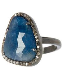 Adornia - Fine Jewelry Silver 4.40 Ct. Tw. Diamond Blue Sapphire Ring - Lyst