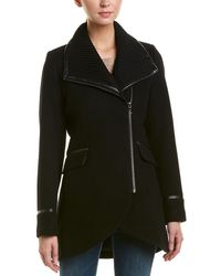 Trina Turk - Macken Leather-trim Wool-blend Coat - Lyst