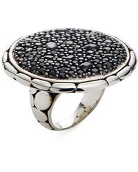 John Hardy - Black Sapphire & Silver Round Ring - Lyst