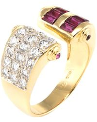 Estate Fine Jewelry - Ruby And Diamond Open Cuff Ring - Lyst