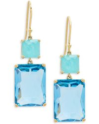 Ippolita - Rock Candy Amazonite, Blue Topaz And 18k Gold Rectangle Snowman Earrings - Lyst