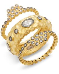 Freida Rothman - Contemporary Deco Cubic Zirconia And Sterling Silver Textured Stone Ring - Lyst