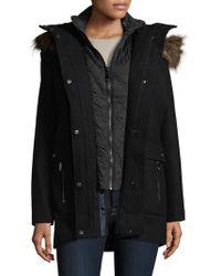 Vince Camuto - Faux Fur-trimmed Wool-blend Parka - Lyst