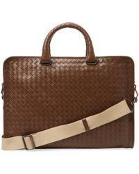 4fd5bddd0833 Lyst - Bottega Veneta Woven Briefcase in Brown for Men