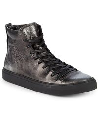 John Varvatos - Reed Leather Mid-top Trainers - Lyst