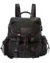 John Varvatos - Striped Leather Backpack - Lyst