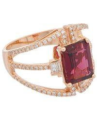 Effy - Fine Jewellery 14k Rose Gold 3.55 Ct. Tw. Diamond & Rhodolite Ring - Lyst