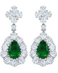 Diana M. Jewels - . Fine Jewellery 18k 8.62 Ct. Tw. Diamond & Green Emerald Drop Earrings - Lyst