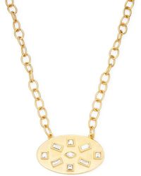 Kenneth Jay Lane   Satin Gold Chain Satin Gold/crystal Oval Pendant Necklace   Lyst