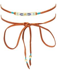 Chan Luu | Beaded Leather Choker Necklace | Lyst