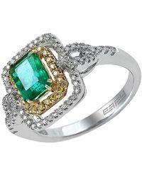 Effy - Brasilica 14kt. Yellow And White Gold Emerald Diamond Ring - Lyst