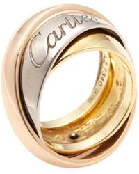Cartier - Vintage 18k Tri-tone Gold Large Rolling Ring - Lyst