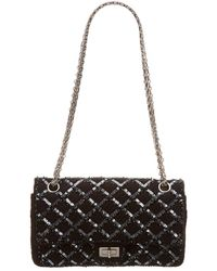 Chanel - Limited Edition Black Sequins Medium 2.55 Reissue 226 Flap Bag - Lyst