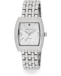 Adrienne Vittadini - Diamond Silvertone Bracelet Watch - Lyst