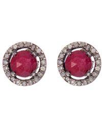 Adornia - Fine Jewellery Silver Ruby Studs - Lyst