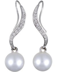 Mikimoto - 18k White Gold 0.40 Ct. Tw. Diamond & 11-12mm Pearl Drop Earrings - Lyst