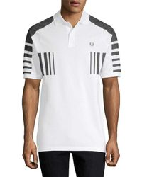 Fred Perry Colorblocked Polo Shirt - White