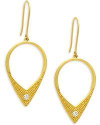 Freida Rothman - Crystal And Sterling Silver Arrow Drop Earrings - Lyst