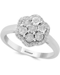Effy - Fine Jewellery Silver 0.36 Ct. Tw. Diamond Floral Ring - Lyst