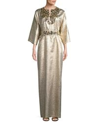 Carolina Herrera - Metallic Silk-blend Kaftan - Lyst