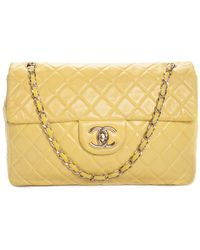 Chanel - Yellow Quilted Leather Classic Maxi Single Flap Bag - Lyst