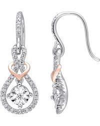 Rina Limor - 10k White & Pink Gold & Diamond Earrings - Lyst