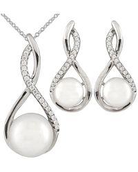 Splendid - Silver 8-10mm Freshwater Pearl Necklace & Earrings Set - Lyst