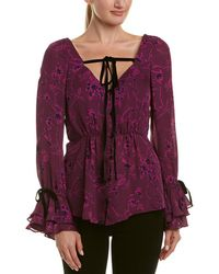 Cinq À Sept Mabel Silk Top - Purple